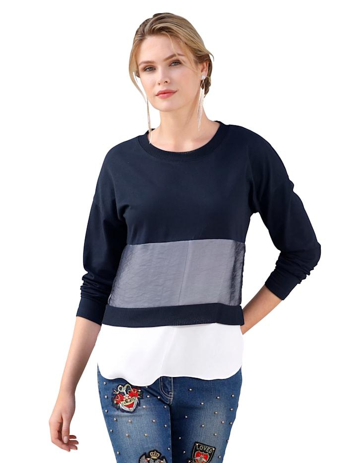 Shirt mit weißem Webeinsatz und transparentem Organza