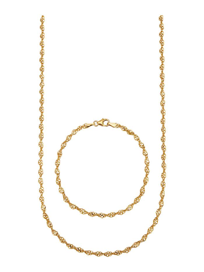 2-delige sieradenset verguld, Geelgoudkleur