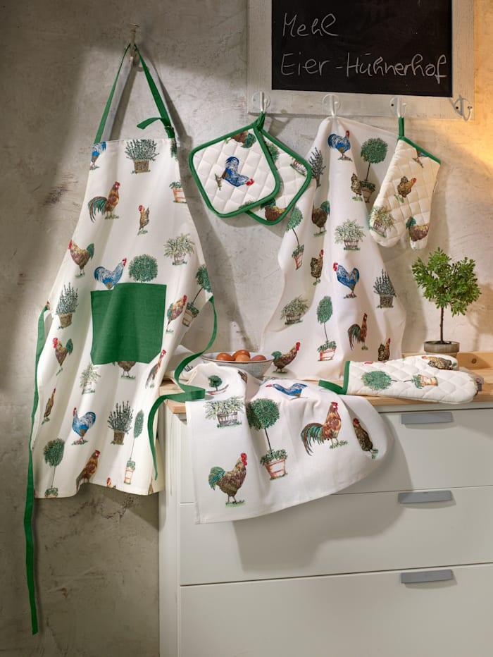 Kracht Kochhandschuh 'Hühnerhof' im 2er-Pack, Natur/Multicolor