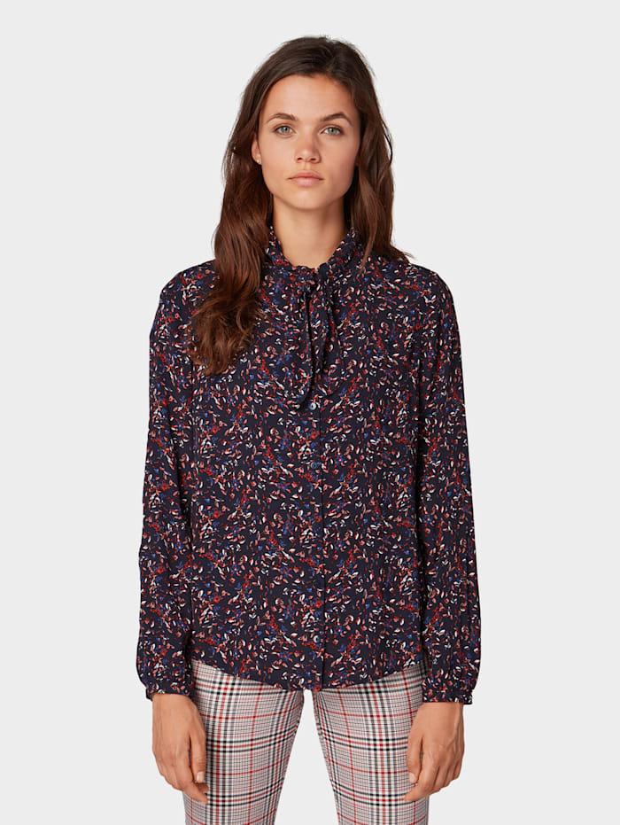 Tom Tailor Nena & Larissa: Bluse mit Knotendetail, navy floral design