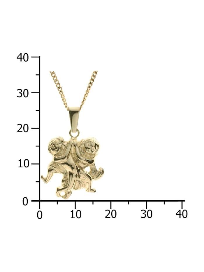 Kette mit Anhänger - Tierkreiszeichen Zwillinge - Gold 333/000 - ,
