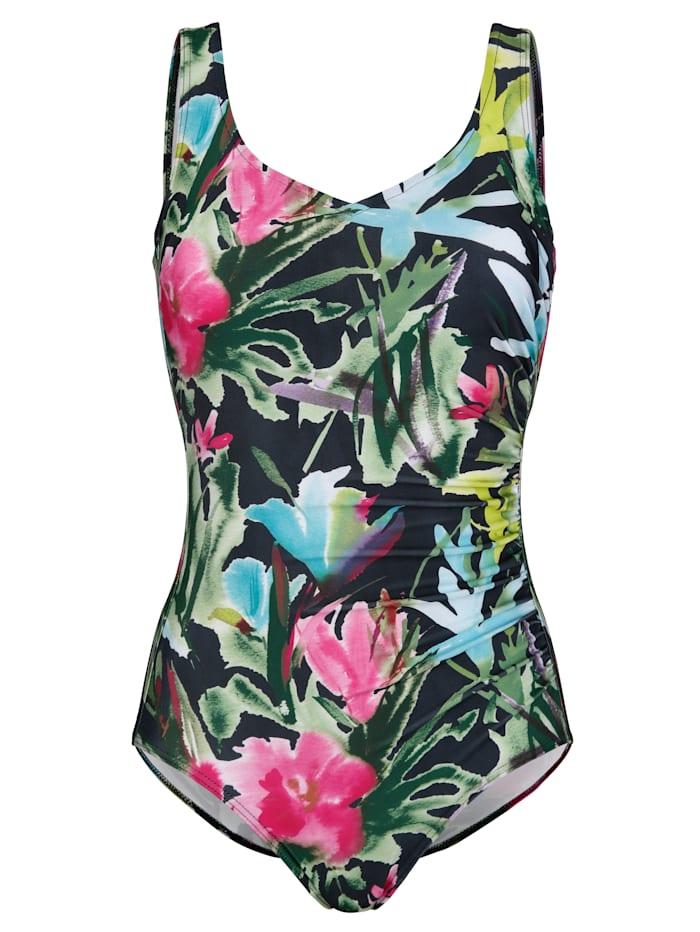 Schwab Bademoden Badeanzug in schnell trocknender Qualität, Grün/Pink/Schwarz