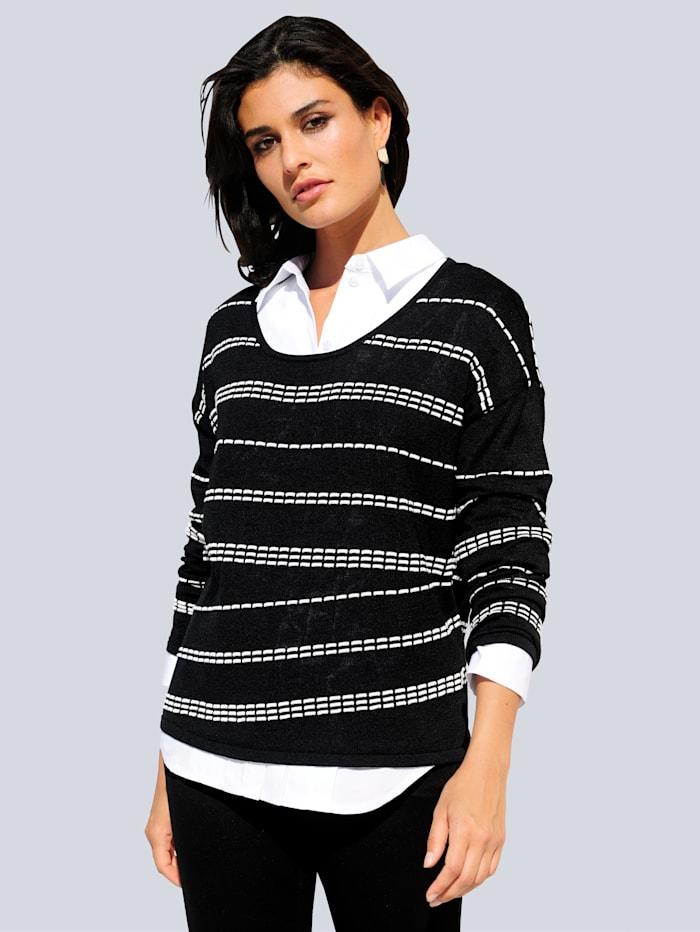 Alba Moda Pullover in gestricktem Streifenmuster, Schwarz/Off-white