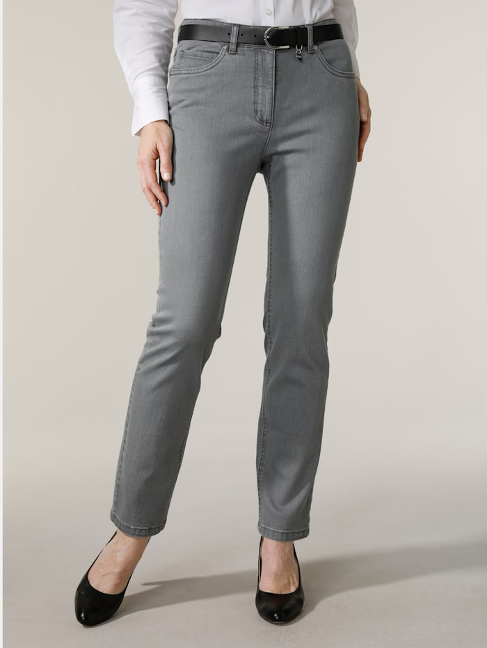 MONA Jeans met geborduurd logo, Grijs