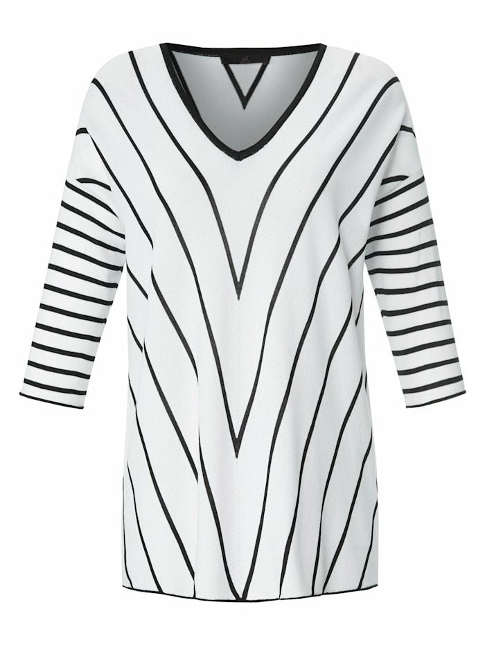 Emilia Lay 3/4 Arm-Pullover V-Pullover mit 3/4-Arm, weiß/schwarz
