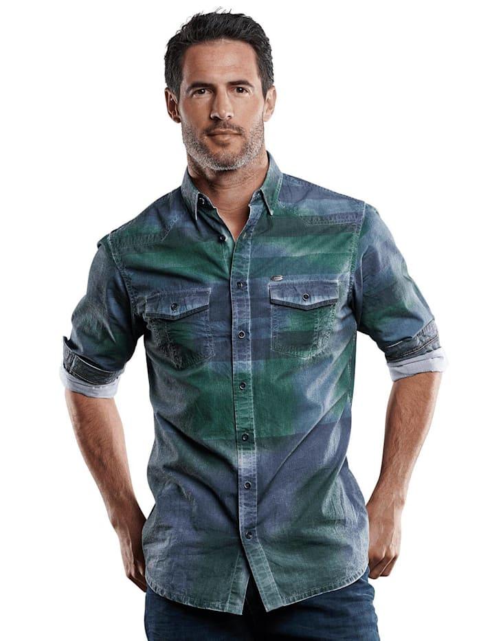 Engbers Langarmhemd im Westernlook, Tannengrün