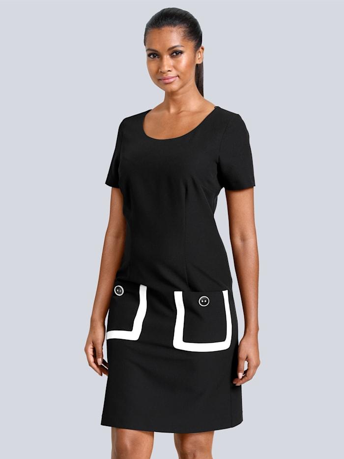 Alba Moda Kleid mit aufgesetzten Taschen, Schwarz