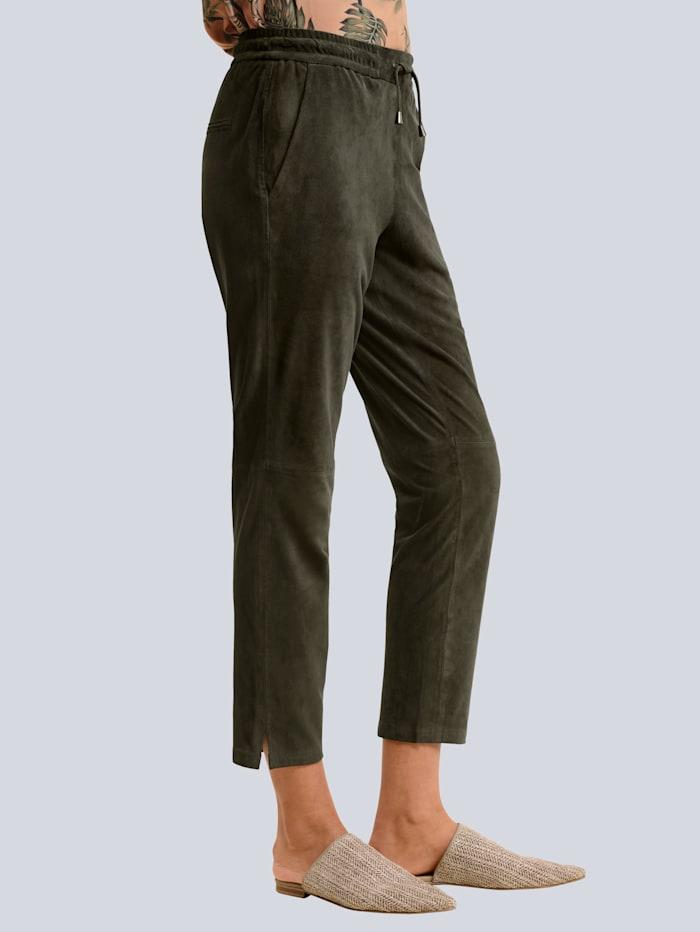 Alba Moda Lederhose aus hochwertigem Ziegenvelours, Khaki