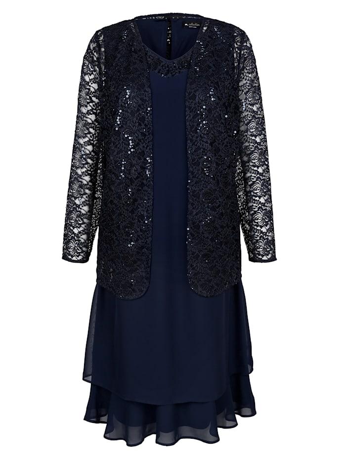 Set: jurk en blazer van bloemenkant met pailletten