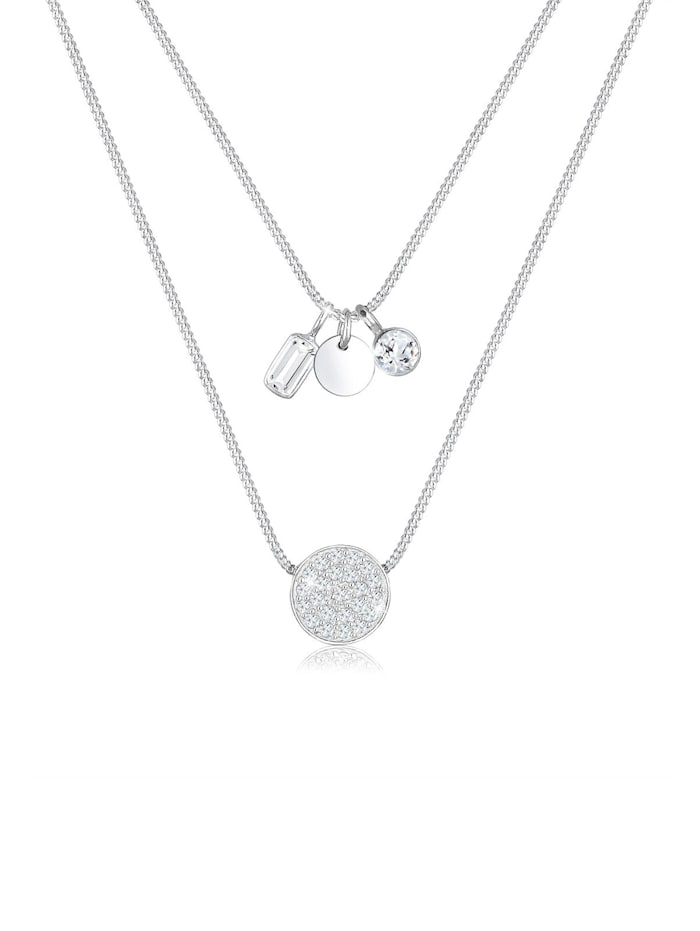 Elli Premium Halskette Panzerkette Layer Geo Topas Edelstein 925 Silber, Silber