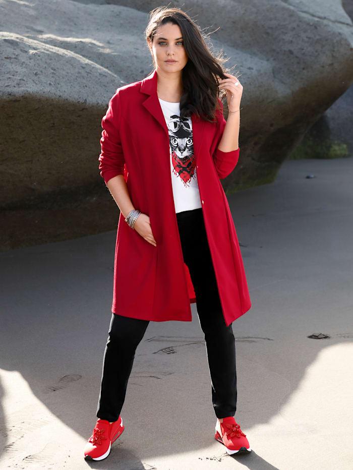 MIAMODA Veste molletonnée de coupe longue, Rouge