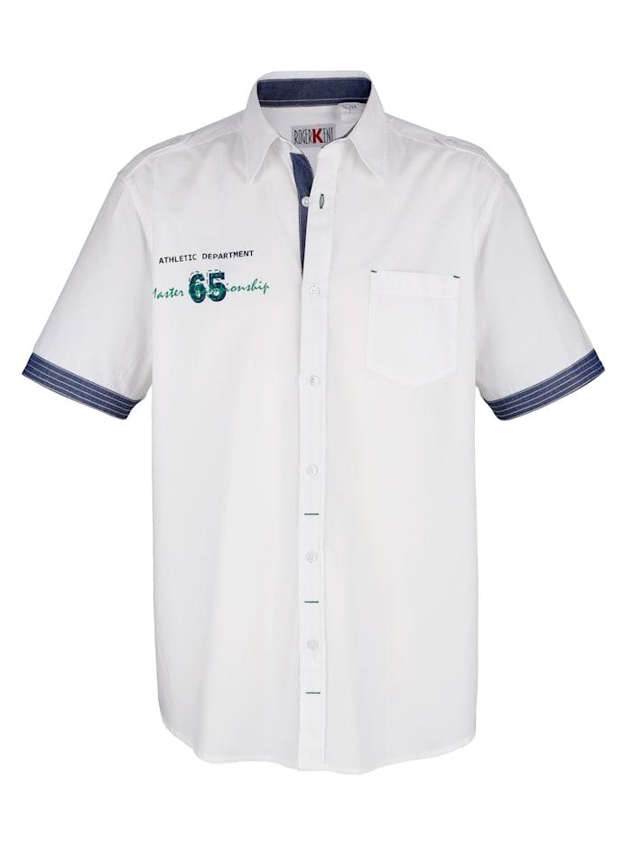 Roger Kent Overhemd met contrastkleurige print, Wit