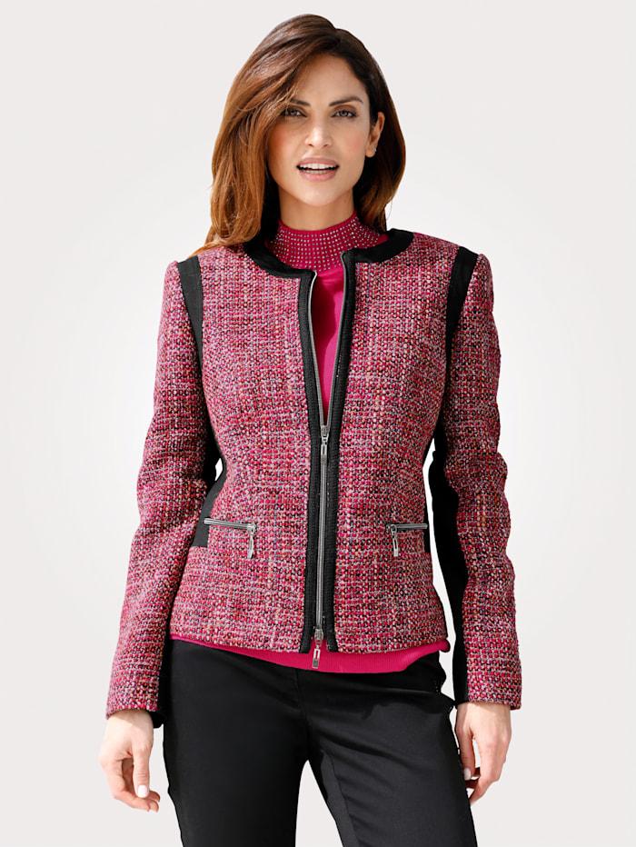 MONA Blazer in Bouclé-Qualität, Schwarz/Pink