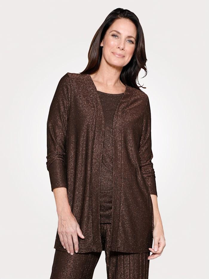 MONA Shirtjacke mit Glanzgarn, Schwarz/Kupferfarben