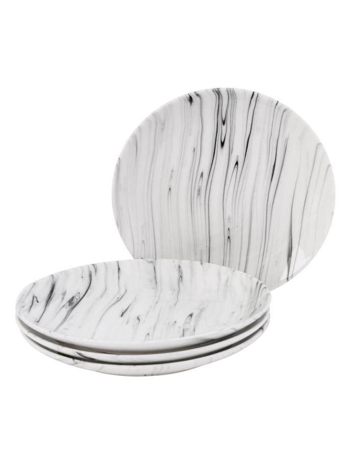 IMPRESSIONEN living Dessertteller-Set, 4-tlg., weiß/schwarz