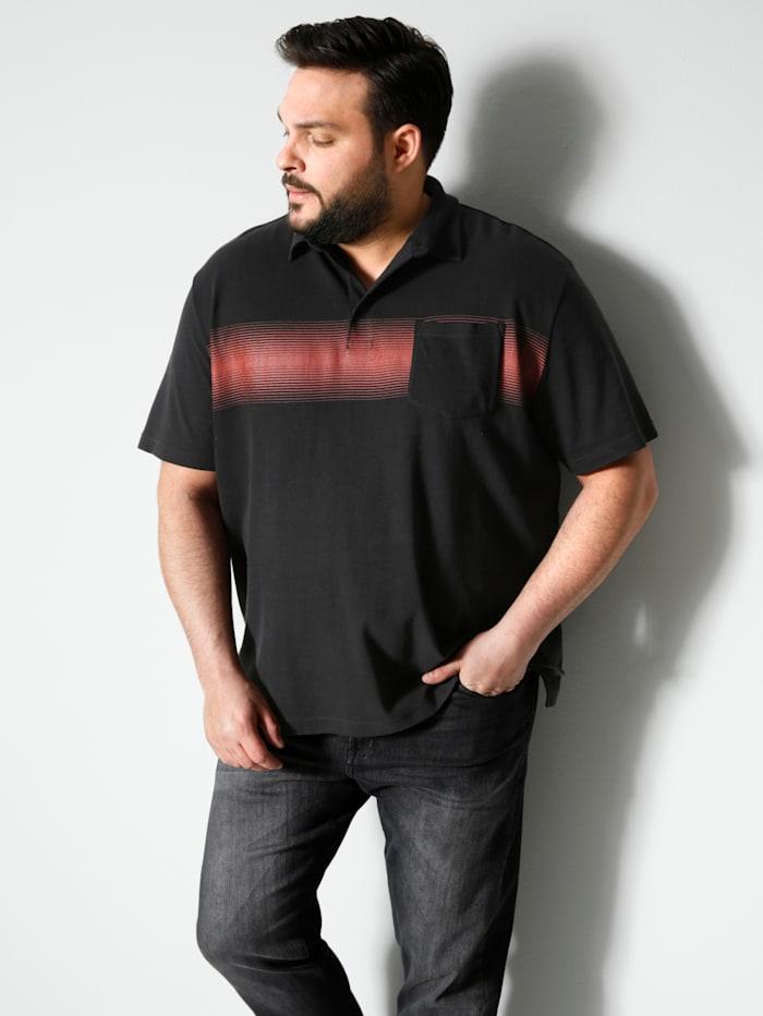 Men Plus Poloshirt aus reiner Baumwolle, Schwarz