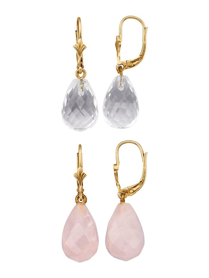 Lot de 2 paires de boucles d'oreilles en quartz rose et cristal de roche