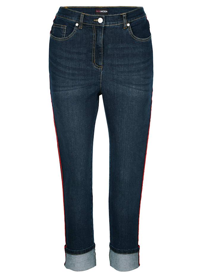 Jeans mit seitlich aufgesetztem Dekoband