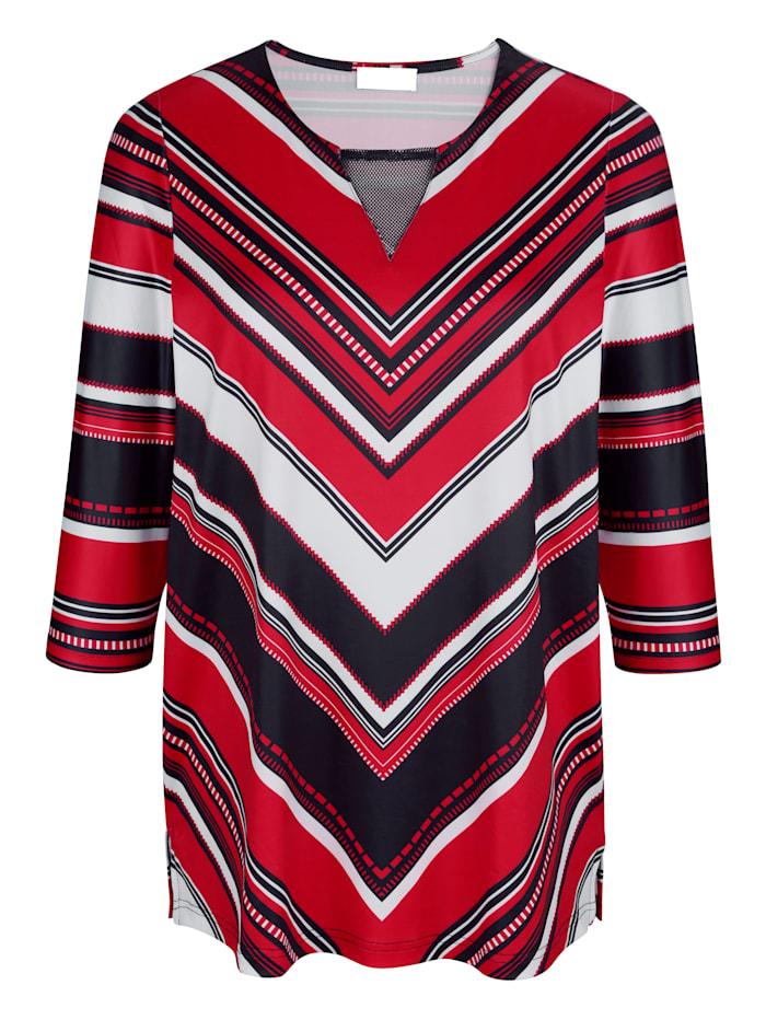 m. collection Shirt mit streckendem Muster, Marineblau/Rot/Weiß