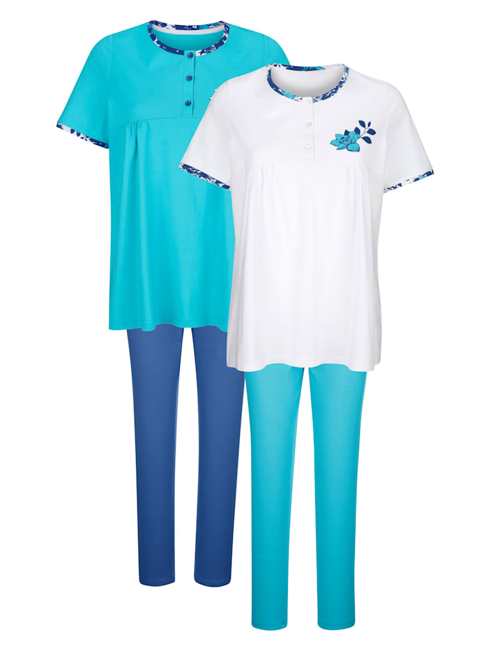 Blue Moon Pyjama's per 2 stuks met plooitjes voor, Turquoise/Marine/Wit