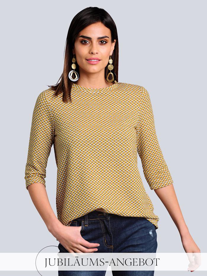 Alba Moda Shirt mit Jaquardstruktur, Senfgelb/Marineblau/Off-white
