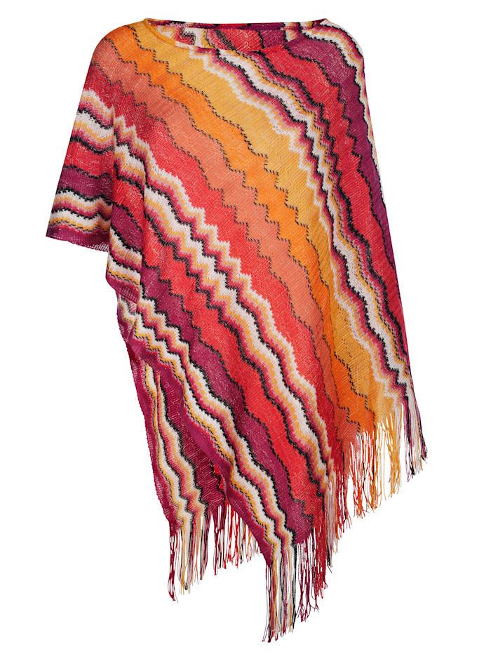 MONA Poncho mit effektvollem Zick-Zack-Muster, Pink/Terracotta/Gelb