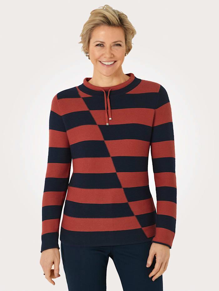 MONA Pullover aus Pima-Baumwolle, Terracotta/Marineblau