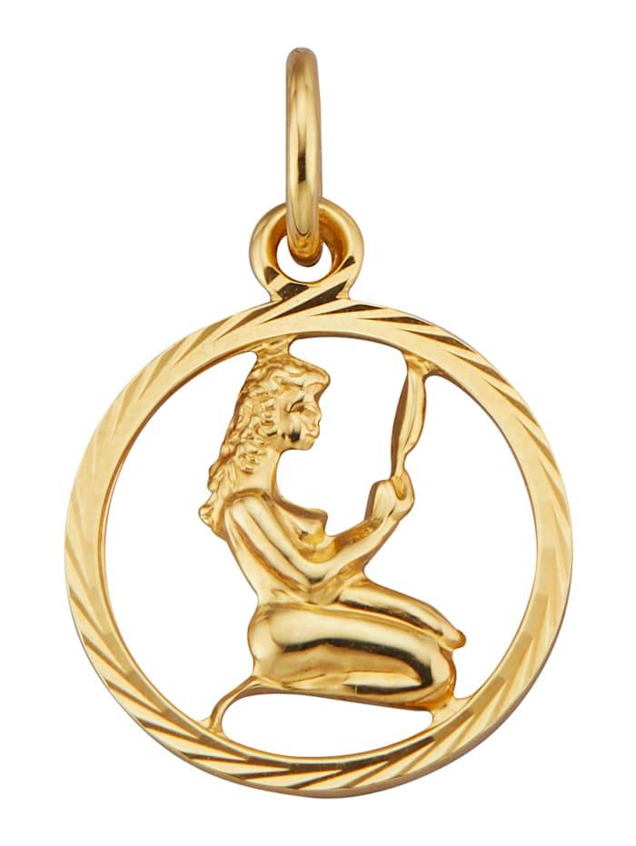 Pendentif Signe du zodiaque Vierge en or jaune 585, Coloris or jaune