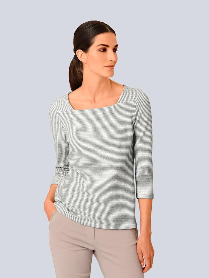 Alba Moda Shirt in schön strukturierter Ware, Grau/Off-white