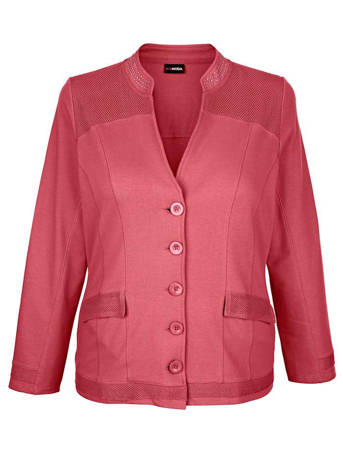 MIAMODA Sweat bunda s módními síťovanými vsadkami, Terra