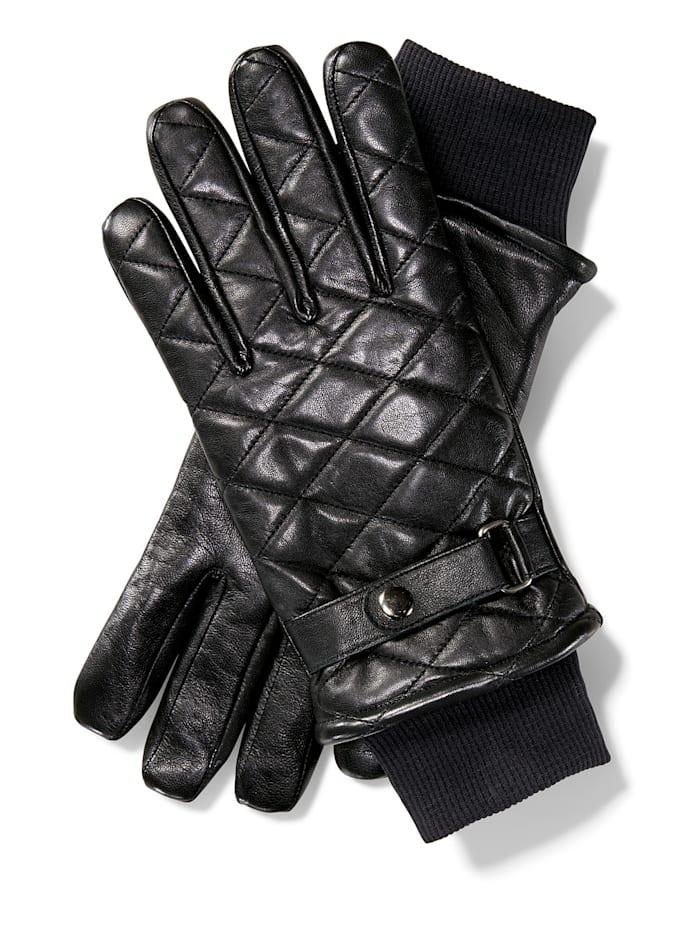 BABISTA Kožené rukavice s fleecovou podšívkou, Černá