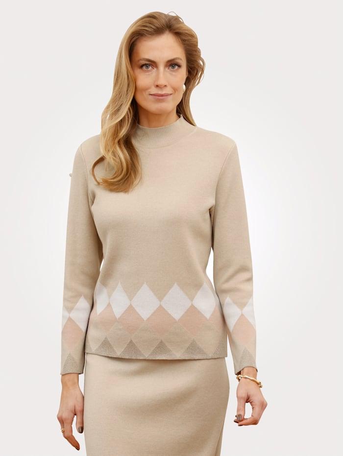 MONA Pullover mit Stehkragen, Beige/Rosé/Ecru