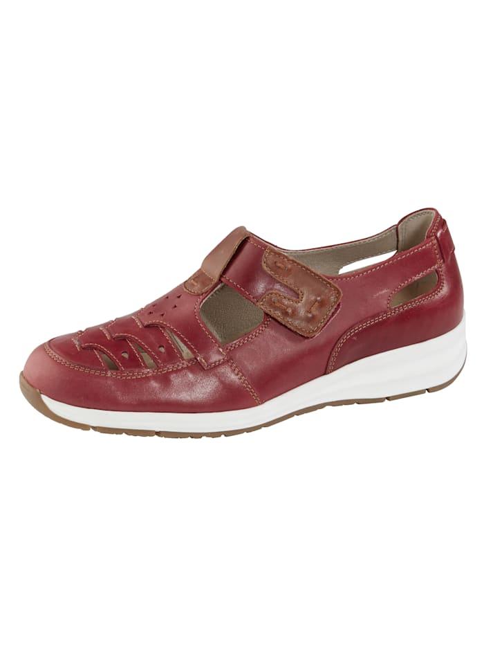 Naturläufer Klittenbandschoen met modieuze perforaties, Rood