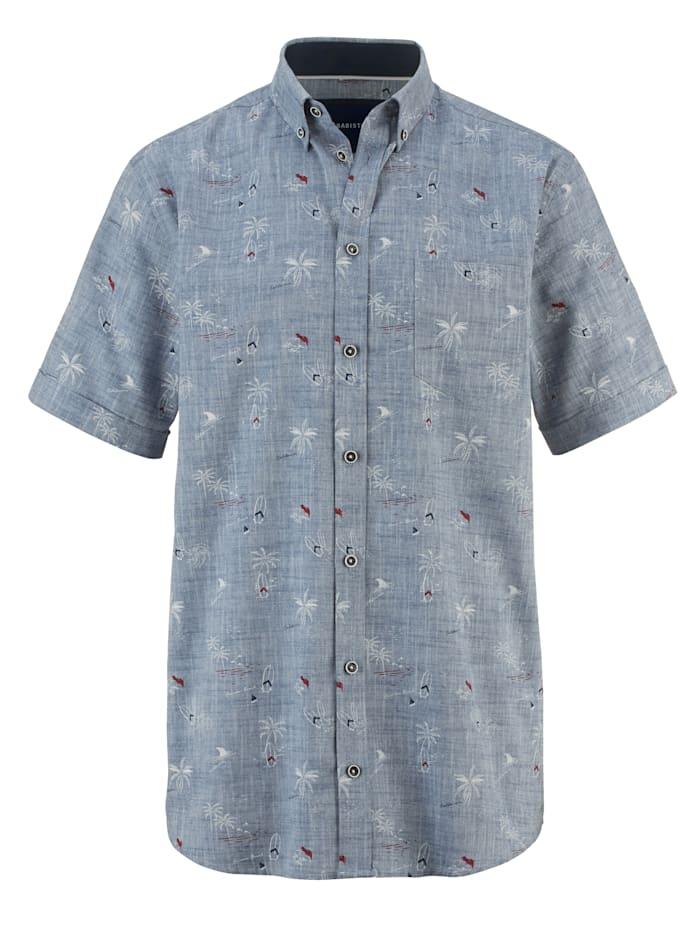 BABISTA Ľanová košeľa farbená priadza a potlač, Dymová modrá