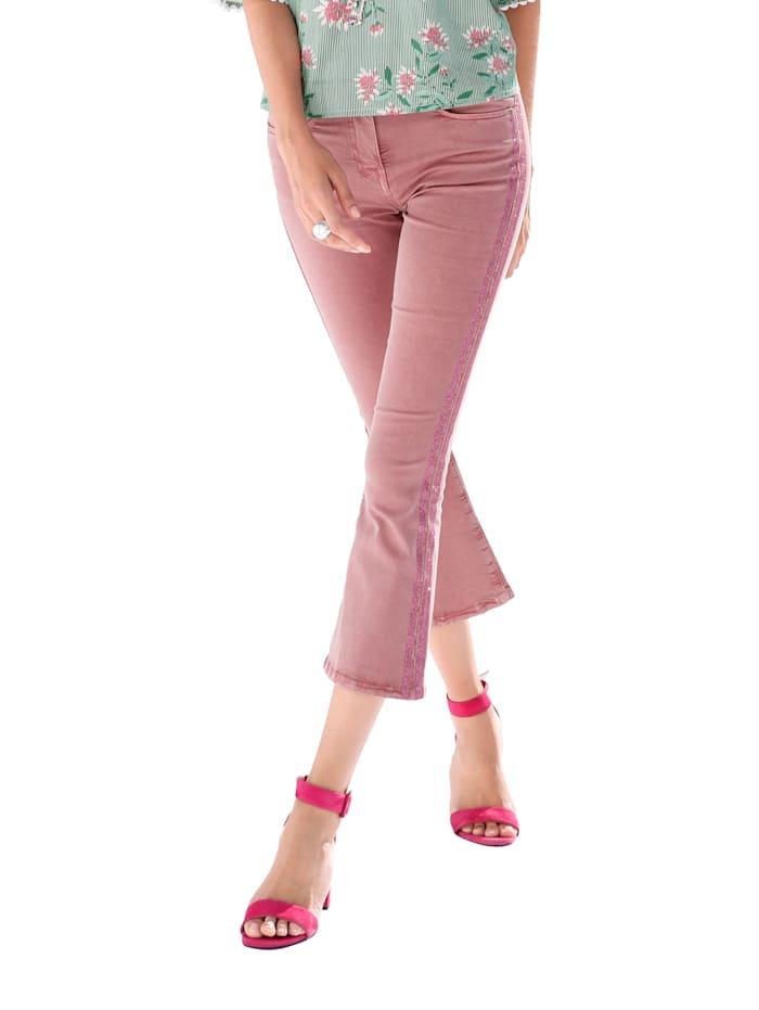 AMY VERMONT 7/8-jeans met galonstrepen, Roze