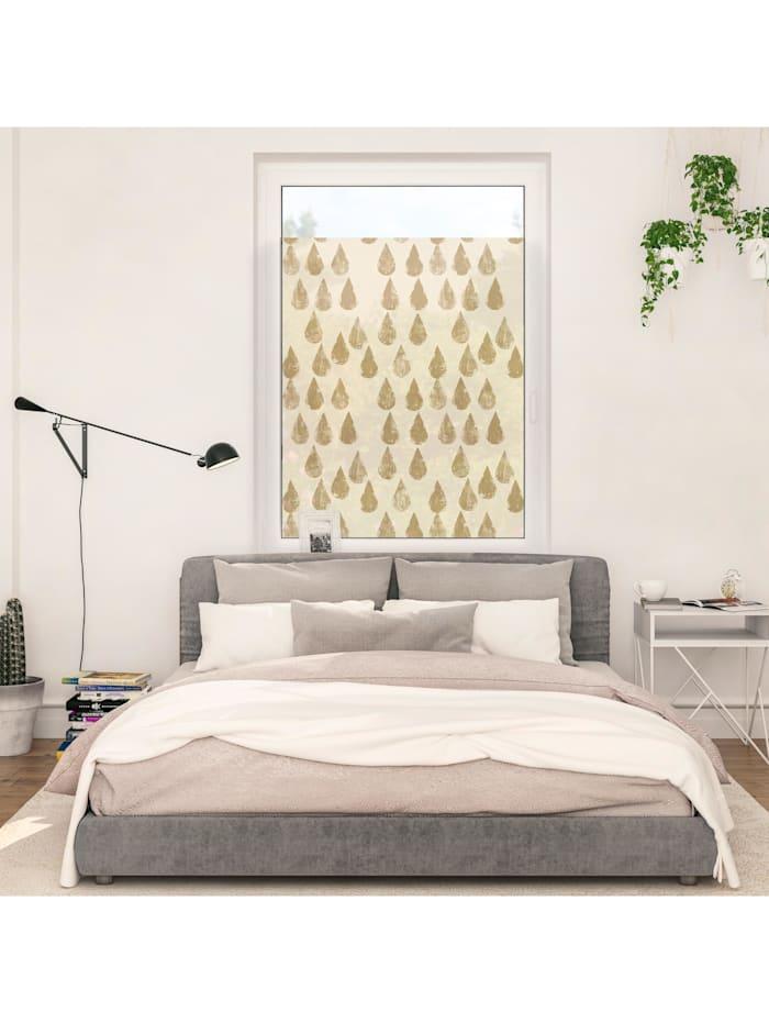 Fensterfolie selbstklebend, Sichtschutz, Golden Drops - Gold
