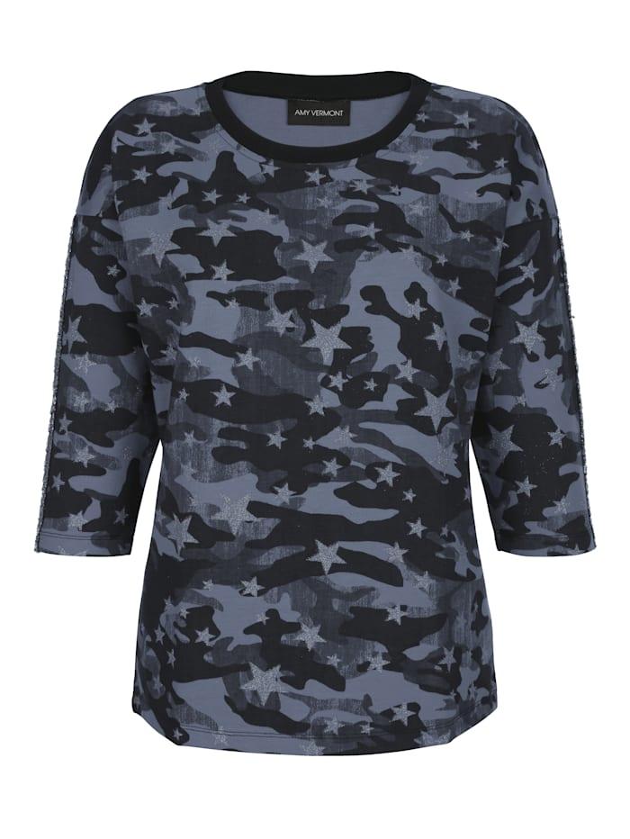 Sweatshirt med tryckt mönster och paljetter