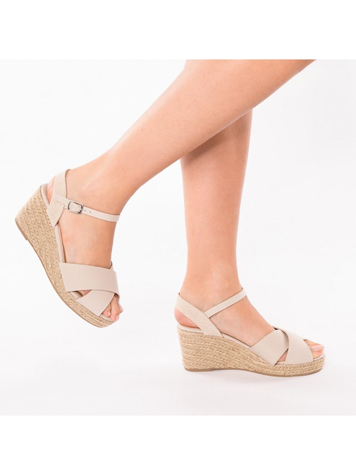 Peeptoe-Sandalette mit Keilabsatz