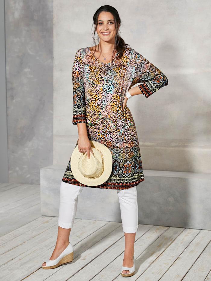 MIAMODA T-shirt long à encolure en V allongeante, Multicolore