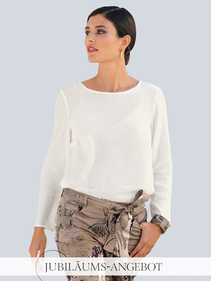 Alba Moda Bluse in samtiger Optik, Off-white