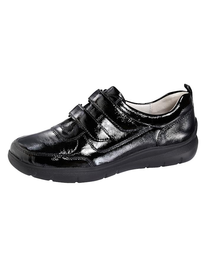 Waldläufer Chaussures basses à scratch avec  semelle intérieure pro-active, Noir