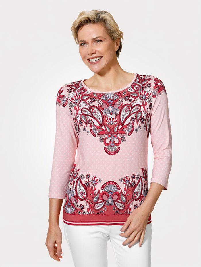 MONA Shirt mit farbintensiven Paisley, Rosé/Koralle/Rot