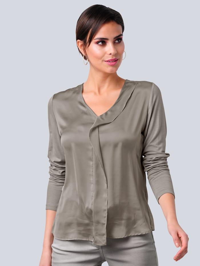 Alba Moda Shirt mit effektvollem Rüschenvolant, Taupe