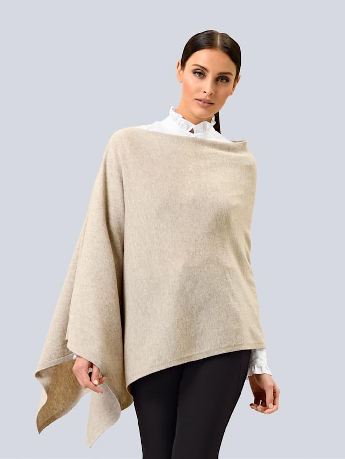 Alba Moda Poncho-Pullover in softem Glattstrick, Beige