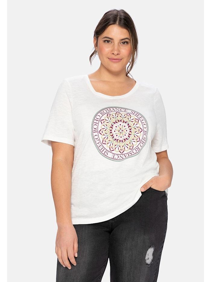 Sheego T-Shirt mit Boho-Druck und Stickereien, offwhite