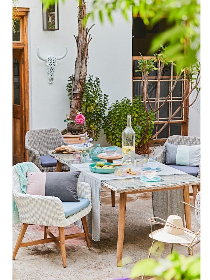 Outdoor Esstisch mit Glasplatte