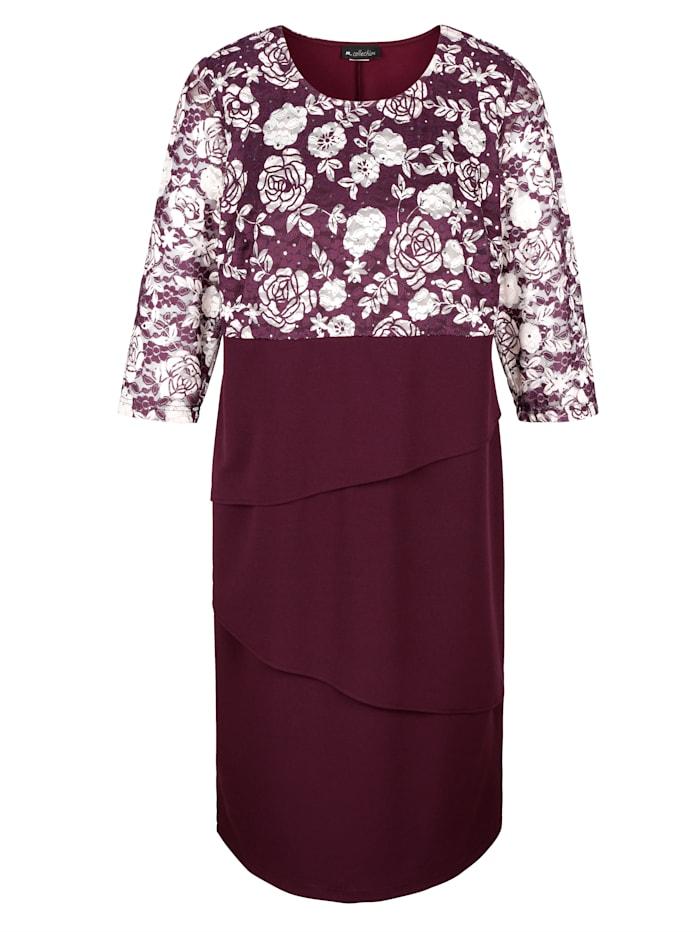 m. collection Kleid in Stufenoptik, Aubergine/Rosé
