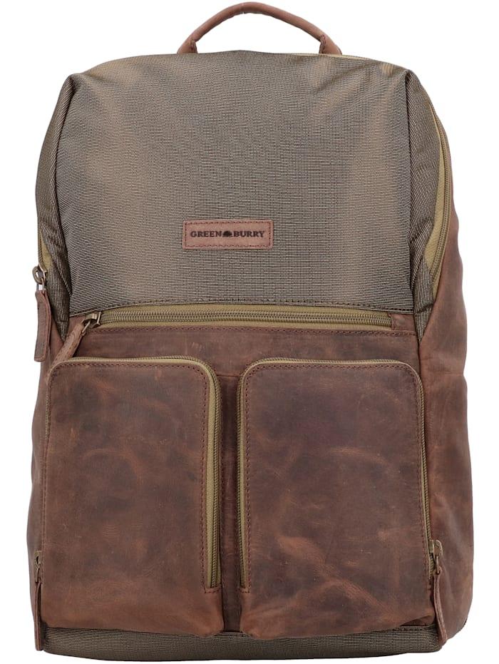 Greenburry Vintage Tec Rucksack Leder 44 cm Laptopfach, brown/olive
