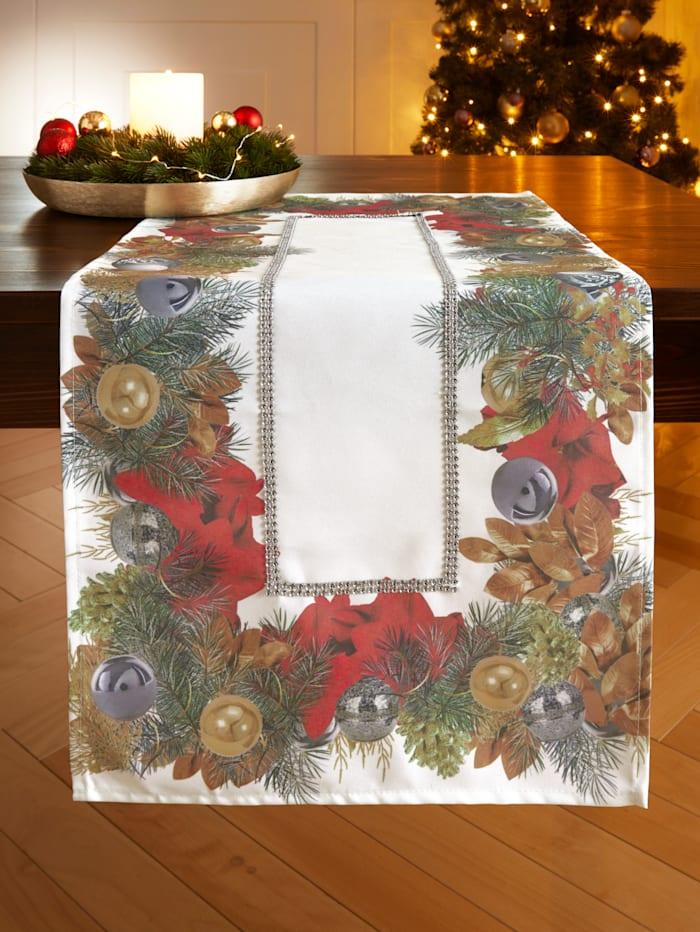 Webschatz Dukserie med julmotiv och strass, champagne/flerfärgad