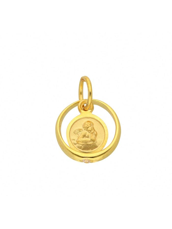 1001 Diamonds Damen Goldschmuck 585 Gold Anhänger Taufring mit Zirkonia Ø 10,1 mm, gold